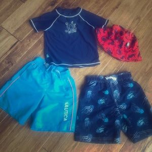 5T/6T swim attire 2 pair swim trunks 1 shirt & hat
